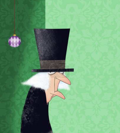 Photo for Funny drawing of Ebenezer Scrooge with a Christmas ornament - Royalty Free Image