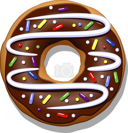 Ilustración de Chocolate donut isolated on a white. - Imagen libre de derechos