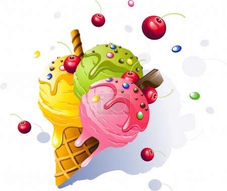 Illustration pour Crème glacée. Illustration vectorielle sur fond blanc . - image libre de droit