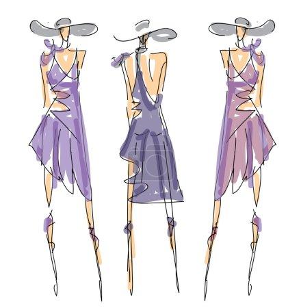 Illustration pour Croquis Poses de mode Illustration vectorielle - image libre de droit