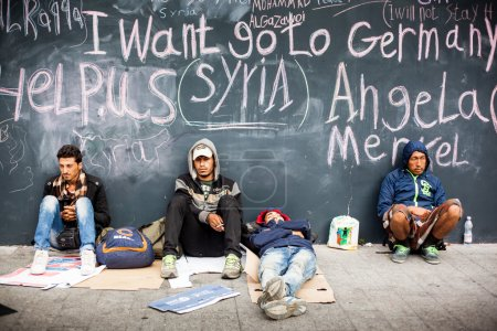 War refugees at the Keleti Railway Station