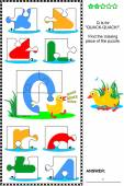ABC learning educational puzzle - letter Q (quack-quack)