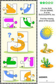 ABC learning educational puzzle - letter S (sun snake succulents)