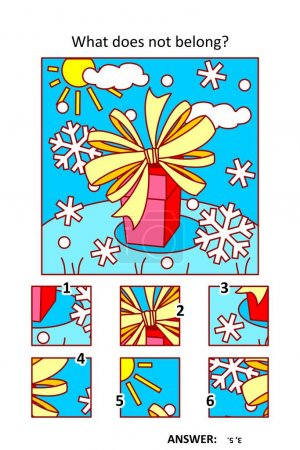 Illustration for Visual puzzle with picture fragments. Winter holidays gift or present with beautiful bow. What does not belong? - Royalty Free Image
