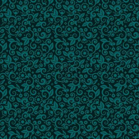 Illustration pour Sans couture (vous voyez 9 tuiles) fond de motif floral (papier peint, texture, tuile, swatch, impression) de vert bleu ou turquoise foncé tendances vacances d'hiver couleurs de Noël - image libre de droit
