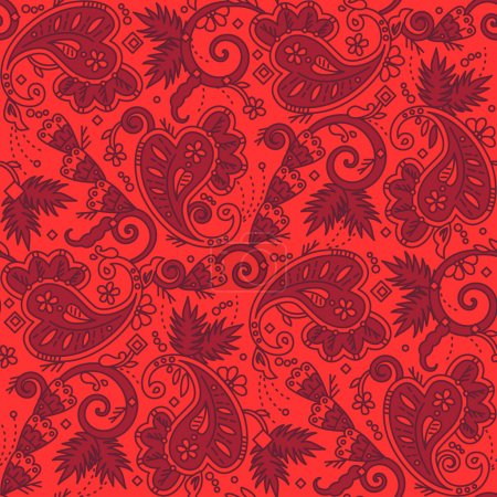Seamless paisley background of red Christmas colors