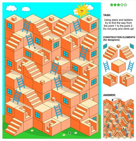 3d maze game with stairs and ladders