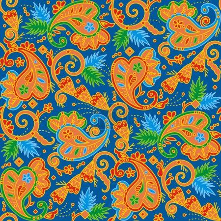 Illustration pour Sans couture (facile à répéter) fond de motif paisley multicolore (swatch, papier peint, tuile, impression, texture ) - image libre de droit