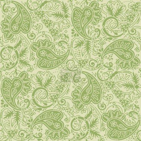 Illustration pour Fond sans couture (facile à répéter) motif paisley (swatch, papier peint, tuile, impression, texture), bronzage et vert - image libre de droit