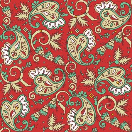 Illustration pour Fond sans couture (facile à répéter) motif paisley (swatch, papier peint, carrelage, impression, texture), adapté aux projets de Noël - image libre de droit