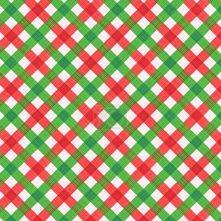 Illustration pour Fond en tissu gingham rouge et vert de Noël avec texture en tissu, plus motif sans couture inclus dans la palette de swatch (pour le mode vectoriel), remplissage de motif élargi - image libre de droit