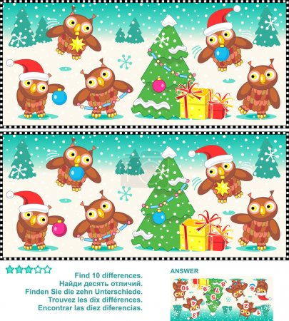 Christmas owls find the differences picture puzzle