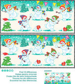Find the differences picture puzzle - playful snowmen