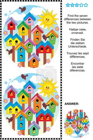 Find the differences visual puzzle - birdhouses