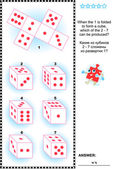 Visual math puzzle (suitable both for kids and adults): When the 1 is folded to form a cube which of the 2 - 7 can be produced? Answer included