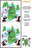 Find the seven differences Christmas or New Year visual puzzle