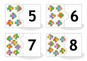 Learn counting puzzle cards with fish numbers 5 - 8