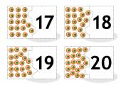 Learn counting puzzle cards with frog eggs numbers 17-20