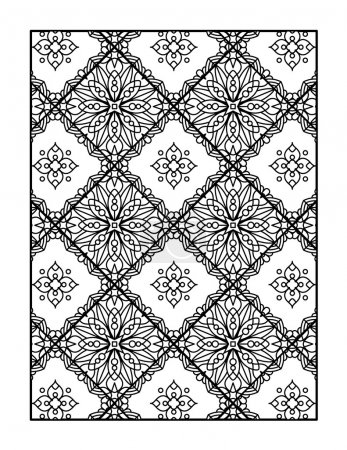 Coloring page for adults, or monochrome decorative background