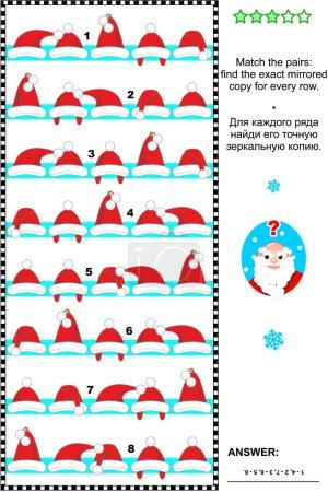 Puzzle visuel de Noël ou Nouvel An avec rangées de casquettes de Père Noël