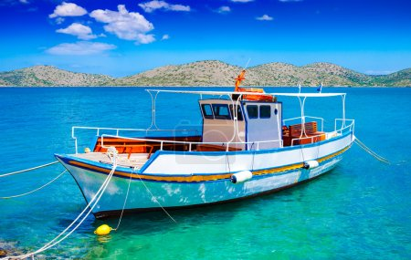 Pleasure boat off the coast of Crete, Greece
