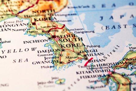 Carte géographique Corée du Sud