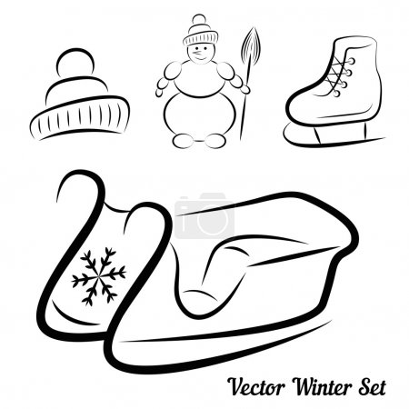 Vector Calligraphic winter drawings