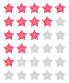 Vector set of red rating stars over white