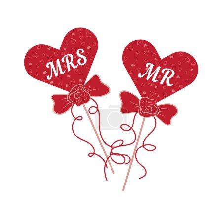 Illustration pour Coeurs rouges de mariage vectoriels MR et MRS sur un bâton. Élément pour vos conceptions de mariage, projets d'entreprise de mariage, logo, et d'autres vos projets - image libre de droit