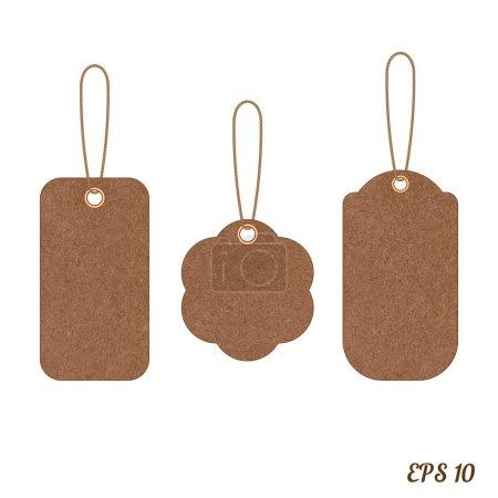 Vector vintage sale tags from grunge cardboard