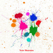 Colorful bright ink splashes over white