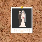 Vector corkboard with instant photo card with bride and groom