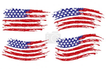 Illustration for Vector set of four USA flags isolated on white background - Royalty Free Image