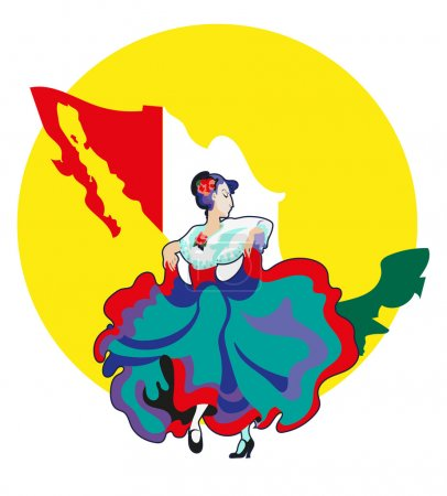 Women in the Mexican national dress