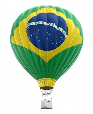 Hot Air Balloon with Brazilian Flag. Image with cl...