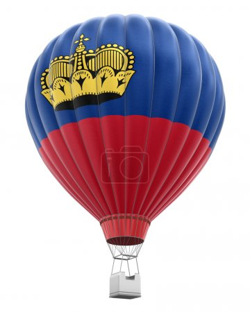 Hot Air Balloon with Liechtenstein Flag (clipping path included)