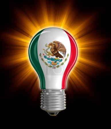 Photo pour Ampoule avec drapeau mexicain. Image avec chemin de coupure - image libre de droit