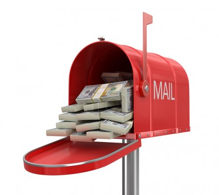 Open mailbox with dollars (clipping path included)...