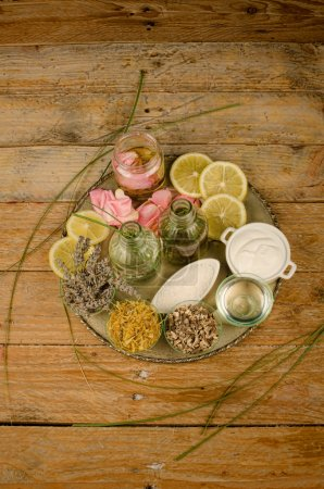 Assortment of natural cosmetics on a rustic table...