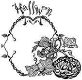 Halloween pumpkin growing shoots and flowers Black and white drawing