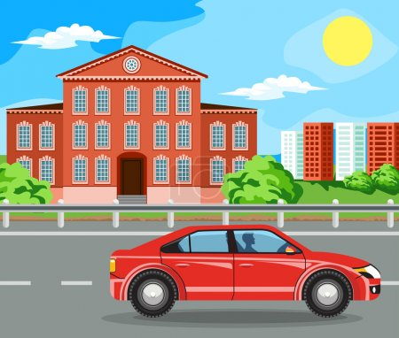 Illustration for The car rides on the highway. The building and the green trees - Royalty Free Image