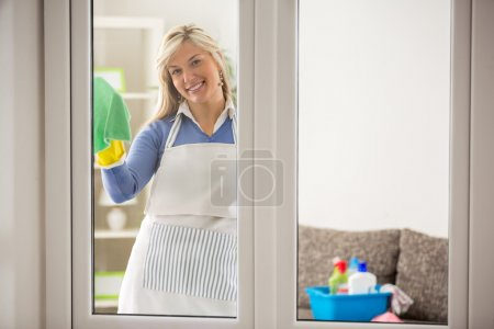 Housewife washing windows
