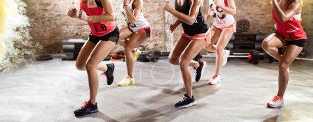 Female legs on fitness training