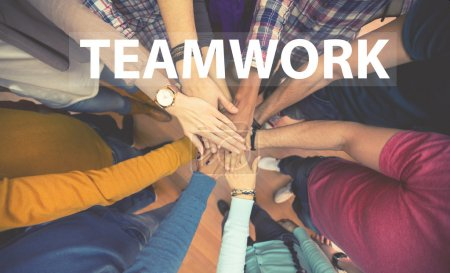 Photo for Students teamwork, all hands together - Royalty Free Image