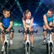 Young people doing spinning