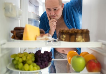 Corpulent man wish hard food rather than healthy food