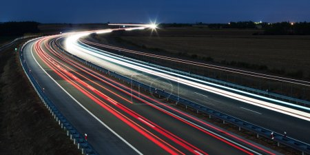 Night highway traffic