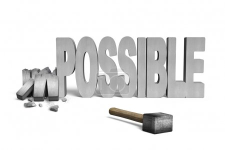 Photo for Cracked impossible 3D concrete word with hammer isolated on white - Royalty Free Image