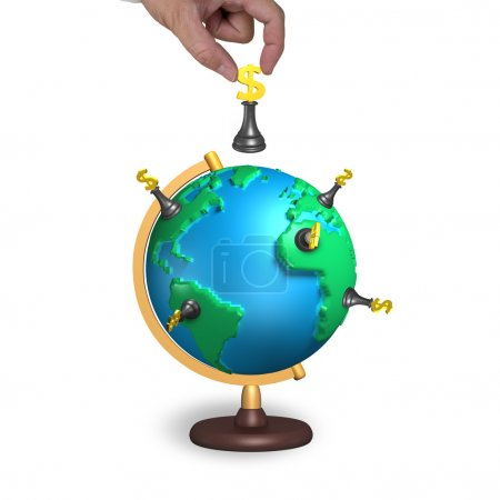 hand hold chess with 3d map terrestrial globe