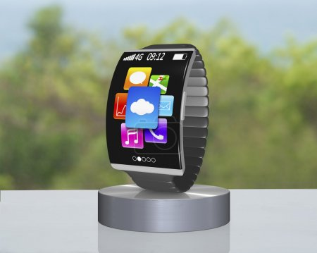 dark gray curved screen smartwatch on showcase with metal watchb